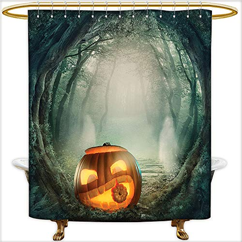 Qinyan-Home Shower Curtain Polyester Fabric Big Scary Halloween Pumpkin in Enchanted Forest Mystic Twilight Party Themed Orange Teal. Decorations Bathroom.W108 x H72 Inch for $<!--$61.89-->