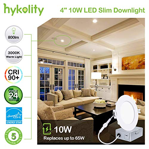 Hykolity 10W 4 Inch LED Slim Recessed Ceiling Light, 800lm, CRI90, 3000K Warm White, Low Profile Downlight with Junction Box Dimmable, ETL& Energy Star Listed,Title 24 Compliant- 4 Pack