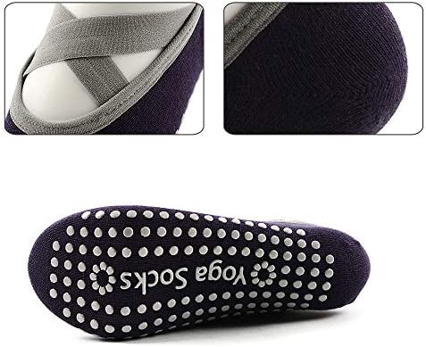 Hibbent 2 Pairs Women Yoga Socks Non-Slip Grips Pilates Dance Barre Fitness Anti-Skid Dance Barre Socks Full Toe Ankle Fall Prevention Grip Socks by ...