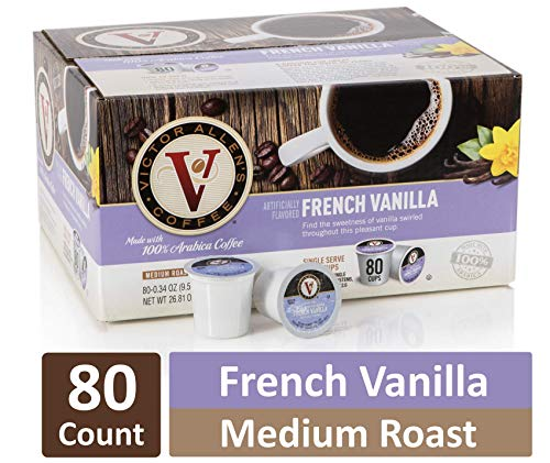 (French Vanilla for K-Cup Keurig 2.0 Brewers, 80 Count, Victor Allen's Coffee Medium Roast Single Serve Coffee Pods)