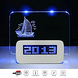 LED Digital Alarm Clock LCD Display 4 USB Port Hub Charger Message Memo Board Backlight with Highlighter Blue