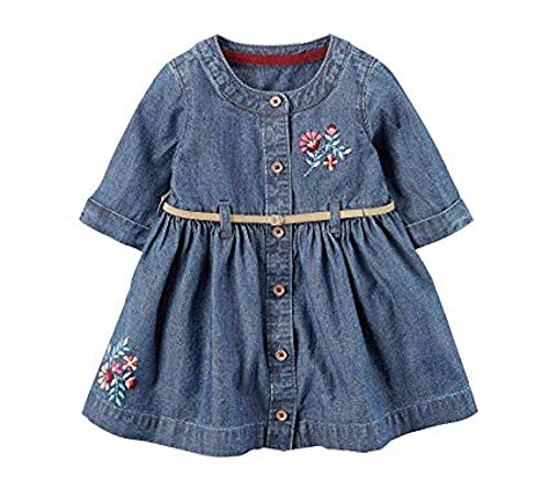 Carter's Baby Girls' 2 Piece Floral Embroidered Belted Dress