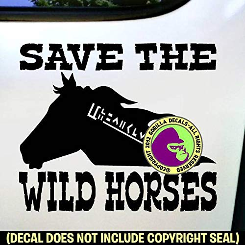 SAVE THE WILD HORSES Mustang Vinyl Decal Sticker E