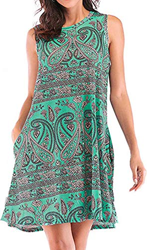 Women's Round Neck Summer Sundress Bikini Swimsuit Swimwear Cover-up (Green,L)