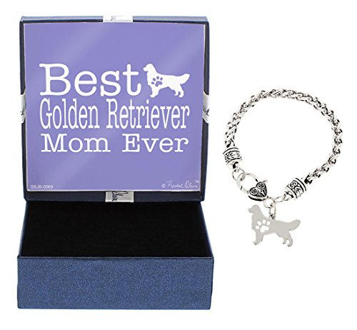 Mother's Day Gifts Best Golden Retriever Mom Ever Golden Retriever Bracelet Gift Silhouette Charm Bracelet Silver-Tone Bracelet Gift for Golden Retriever Owner Jewelry Box (Golden Retriever Gift)
