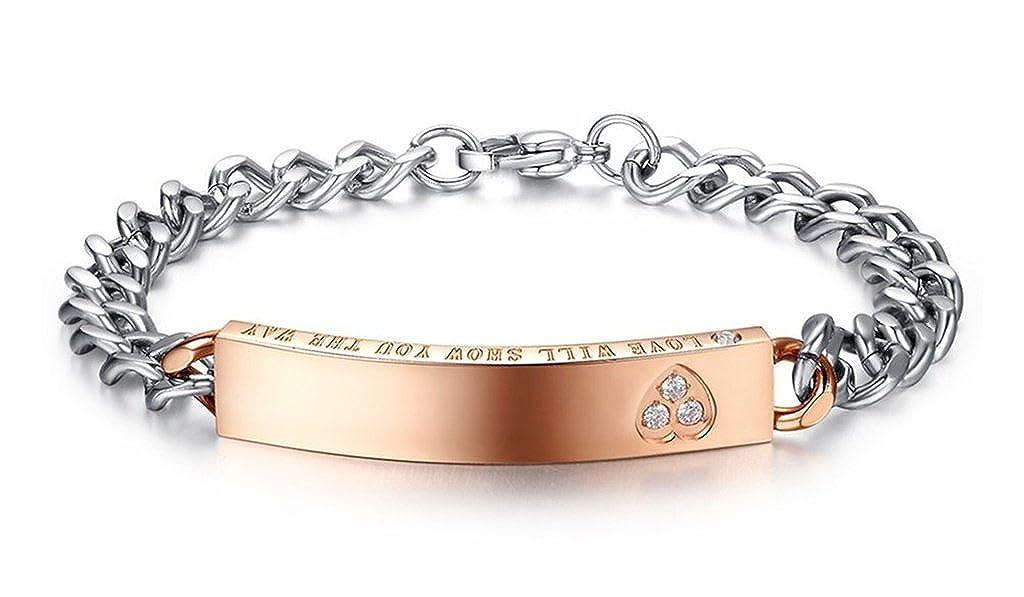 MoAndy Bracelets with Charms Mens Womens Bangle Bracelet Stainless Steel Cubic Zirconia Black Rose Gold Charm Bracelet