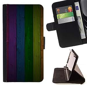Momo Phone Case / Flip Funda de Cuero Case Cover - Modelo de la textura del panel del arco iris Líneas - Samsung ALPHA G850
