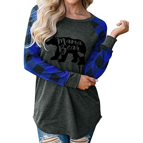 Mellons Womens Casual Plaid Long Sleeve Letter Print Mama Bear Print Shirt Tops Blouse T-Shirts (XXL, Blue)