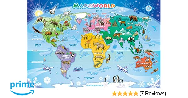 amazoncom cobble hill map of the world 48 piece jungle animals 48 piece childrens puzzles toys games