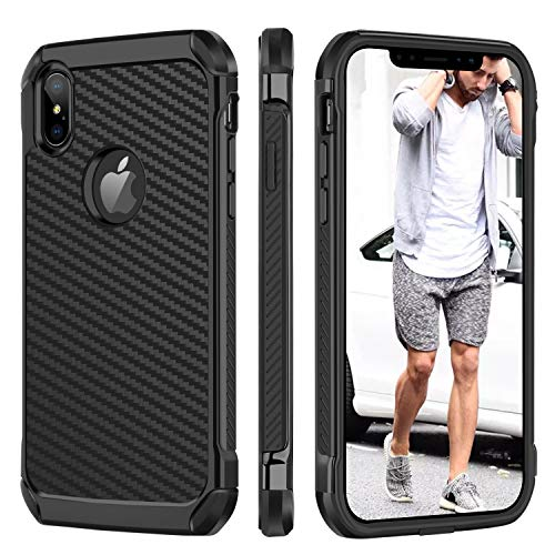 (iPhone Xs Max Case, BENTOBEN iPhoneXs Max/Plus Classic Carbon Fiber Full Body Protective Soft Bumper Shatterproof Rugged Faux Leather Responsive Stylish Man Phone Cover for iPhone Xs+ 6.5 Inch, Black)