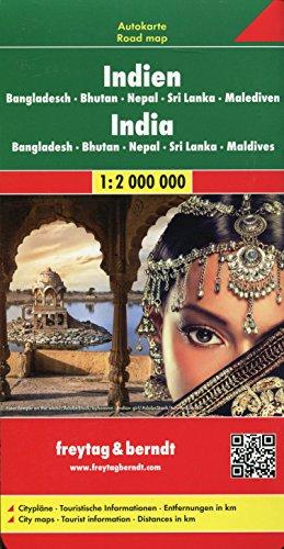 India FB Road Map 1:2M (Incl: Bangladesh Bhutan Nepal SriLanka Maldive (English, Spanish, French,...