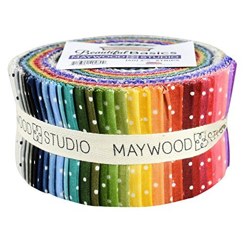 (Beautiful Basics Classic Dot Precut Quilting Strips of Fabric Jelly Roll 40 2.5-inch by Maywood Studio)