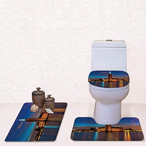 Light 3 Bath Stockholm - Comfort Flannel 3 Pcs Bath Rug Set,Contour Mat Toilet Seat Cover,Stockholm Scenic Night at City Hall Old Town Enchanted Town Sweden View with Blue Cinnamon Mauve,Decorate Bathroom,Entrance Door,kitch
