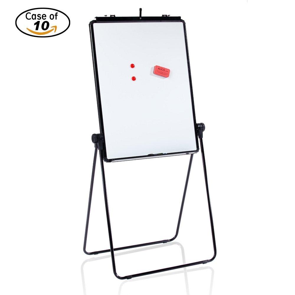 Case of 10, VIZ-PRO ECO Magnetic U-Stand Whiteboard/Flipchart Easel, 28'' X 36'', Black