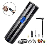 Portable Air Compressor Cordless, Mini Air Pump Electric Tire Inflator Handheld for Car Tires Motorcycle Bicycle Bike Volleyball Basketball, with Digital Gauge LED Light LCD Display 1000mAh DC 12V
