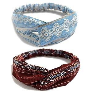 10 Pack Women's Headbands Boho Flower Printing Twisted Criss Cross Elastic Hair Band Accessories