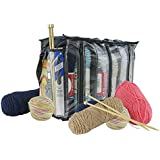 Houseables Knitting Bag, Crochet Organizer, Yarn Tote, 1 Pack, Clear, 6 Compartments, Crocheting Supplies, Knit Accessories, Drawstring, Needles Holder, Thread Dispenser, Storage Box, with Zippers