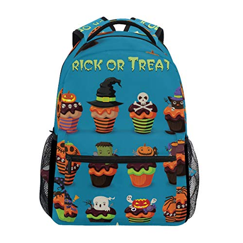 AHOMY Girls School Backpack Halloween Ghost Skull Head Jack-O'-Lantern College Book Bag Lady Travel Rucksack -
