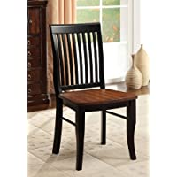 Furniture of America Charleston Mission Style Dining Chair, Antique Oak and Black, Set of 2