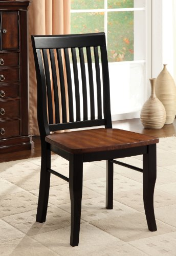 Furniture of America Charleston Mission Style Dining Chair, Antique Oak and Black, Set of 2 - Oak Chair Mission Set
