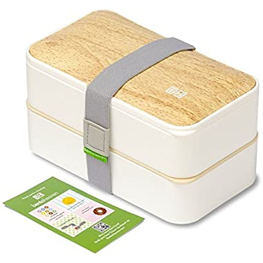 Original BentoHeaven Bento Box +FREE Fun Lunch Notes, Cutlery, Chopsticks - Premium Leakproof Lunch Box for Adults & Kids (Bamboo White)