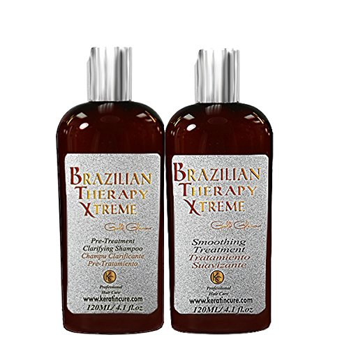 Keratin Cure - 0% Formaldehyde Brazilian Therapy Xtreme BTX Treatment Gold Glamour 120ml 2 Piece Kit with Clarifying Shampoo by Keratin Cure