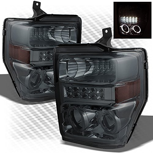 Xtune For 2008-2010 Ford F-Series Super Duty Smoked Halo LED Pro Headlights Front Lamps Pair Left+Right/2009 - Super Duty Left Headlight