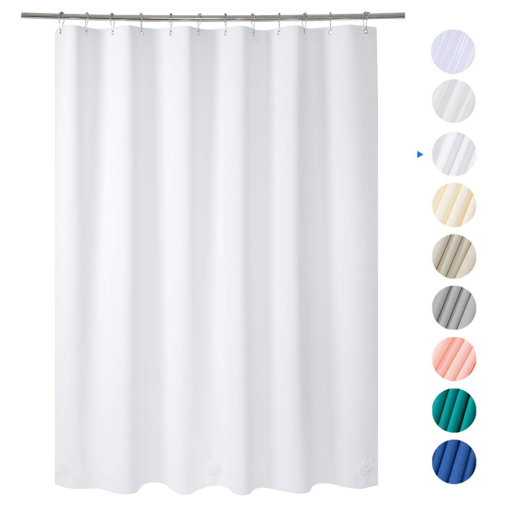 """Amazer Shower Curtain, 72"""" W x 72"""" H White EVA 8G Mildew Resistant Thick Bathroom Shower Curtains No Smell with Heavy Duty Clear Stones and Rust-Resistant Grommet Holes"""