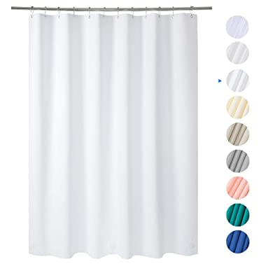 Amazer 72  W x 72  H White EVA 8G Shower Curtain with Heavy Duty Clear Stones and Rustproof Grommet Holes, Waterproof Thick Bathroom Plastic Shower Curtains Without Chemical Odor