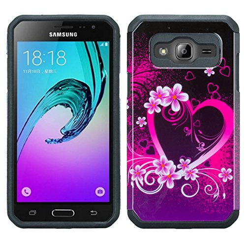 Wydan Case for Samsung Galaxy J3V, Sol, Sky, Express Prime, Amp Prime, J3 - Slim Hybrid Protective PC TPU Phone Case Shock Resistant Absorbent Tough Tuff Thin Fusion Cover - Heart Flower