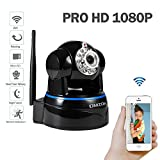 DMZOK ProHD 1080P Wireless Security Network Camera Pan Tilt Zoom Two-Way Audio, SD Card Record, Motion Detection, Remote Mobile View, Baby Pet Camera, WiFi Security Camera(1080P, Black- Night Vision)