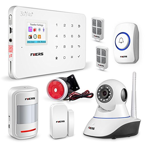 Fuers G183 Wireless Touch Keypad Home Office 3G GSM Security Alarm System DIY Kit with 1WIFI 720P IP Camera Night Vision,1Wireless Panic Button, and More for Complete Security by Fuers