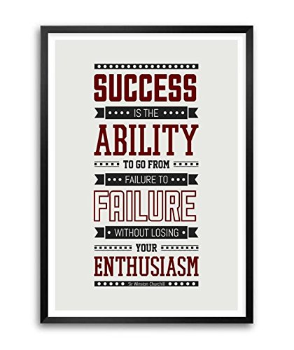 Lab No. 4 Success Is The Ability Sir Winston Churchill Inspirational Quote Framed Poster In A3 - Churchill Winston Glasses
