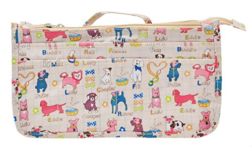 Vercord Printed Purse Handbag Tote Insert Organizer 13 Pockets with Zipper Handle Dogs -