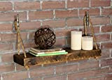 Rope Shelf With Boat Cleat Hangers, Wood Wall Shelf, Nautical Decor