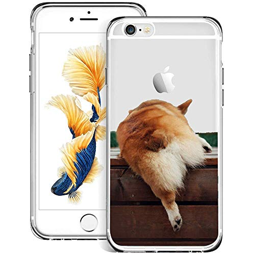 ZYCCWUS iPhone 6s Plus 6 Plus Case Clear Shield with Design Corgi Dog Butt Pattern Anti-Yellow Anti-Scratch Shockproof Protective Back Cover for iPhone 6s Plus 6 (Best Jd Cases For Iphone 6 Plus To Protect The Cases)