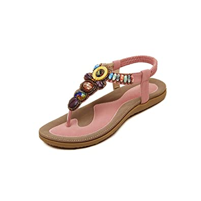Women Ethnic Tribal Bohemia Slippers Flip Flops Flat Sandals Beach Shoes