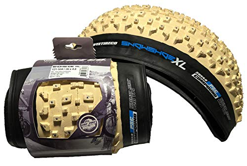 Vee - 2 Tire 26x4.8 Snow Shoe XL Studded Fat Tires FB White Pure Silica Compound Tubeless Ready