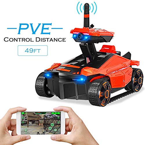 (Costzon Mini RC WiFi Spy Rover Tank, App-Controlled Car Video Recorder Support, WiFi Mini RC Car with 0.3 mp Hd Camera Controlled by iPhone Android)