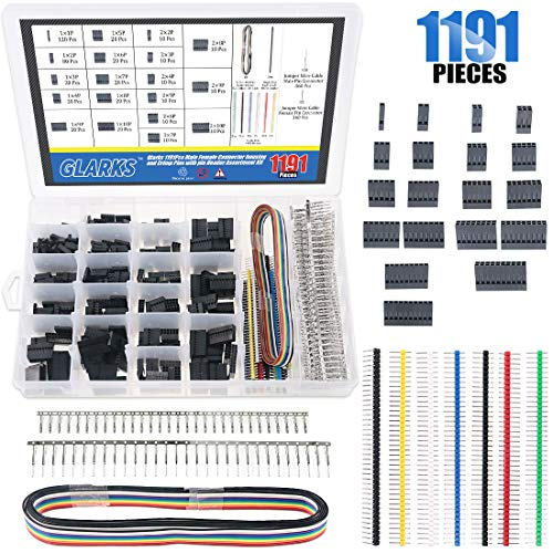 Glarks 1191Pcs 2.54mm Pitch 1 2 3 4 5 6 7 8 9 10 Pin Housing Connector and Male Female Crimp Pins with Pin Header and 10 Wire Rainbow Color Flat Ribbon IDC Cable Compatible with Dupont Connector Kit (10 Pin Mini Usb Female Socket Connector)