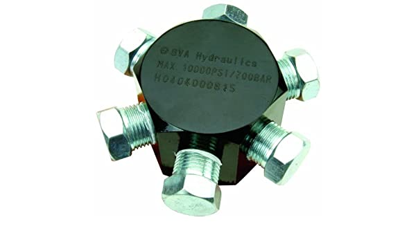 3//8-18 NPTF 3//8-18 NPTF BVA Hydraulics CMH6 6-Port Hex Manifold