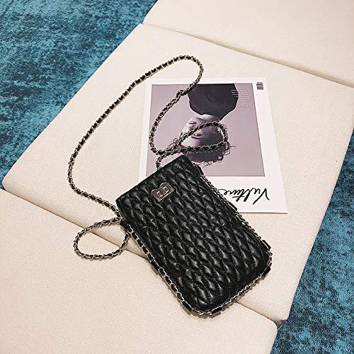Mini Messenger WSLMHH chaîne à bandoulière Sac Sauvage Femme téléphone Sac marée de Portable Noir Petit de Fille de la Sac la Sac CHRqCgwrS