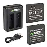 Wasabi Power AZ16-1 Replacement Battery (2-Pack) and Dual USB Charger for Xiaomi YI 4K Camera and YI AZ16-1