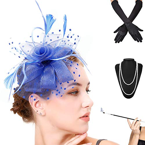 (Fascinators Pillbox Tea Hat for Women Tea Party Accessories Set - Kentucky Derby Headband,Gloves, Long Cigarette Holder (OneSize, 3-Royal Blue))