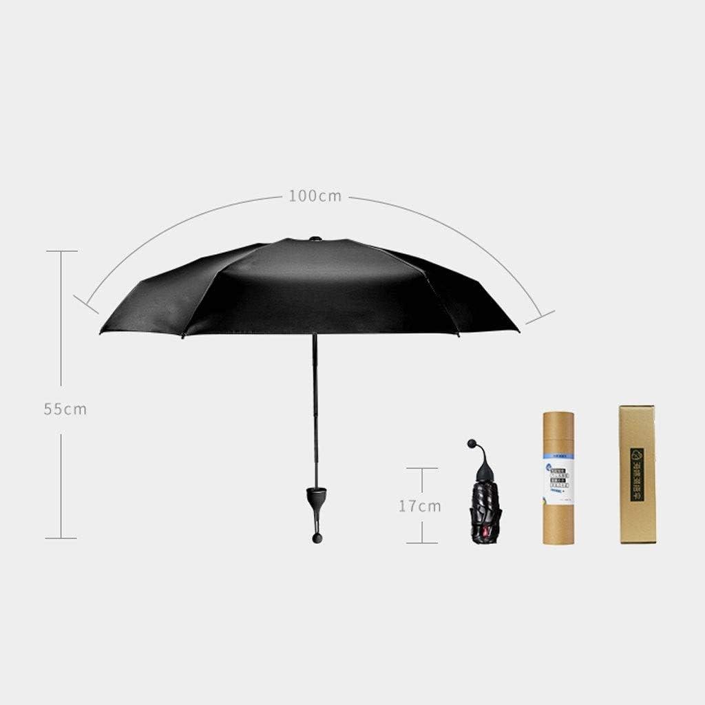 Color : A RXY-UMBRELLA Ins Sun Umbrella Female Sunscreen Ultra Light Small Anti-UV Black Plastic Umbrella Folding Mini Pocket Umbrella