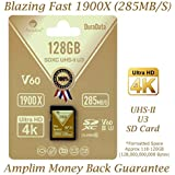 Amplim 128GB UHS-II SDXC SD Card Blazing Fast Read 285MB/S (1900X) Class 10 U3 Ultra High Speed V60 UHSII Extreme Pro SD XC Memory Card. Professional 4K 8K Video Shooting 128 GB/128G TF Flash. New