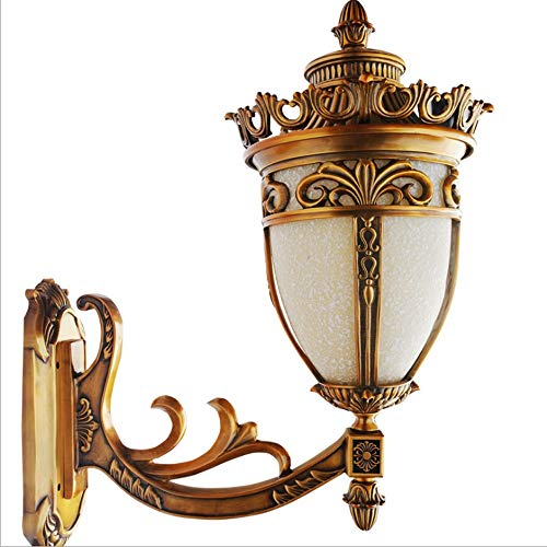 Qyyru Outdoor Age Antique Sconce for Headboard Bedroom Staircase Door Porch Full Copper Tv House Lighting Motion Sensor Fixture Exterior Dusk to Dawn White Bronze ()