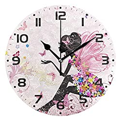 JUMBEAR Silent Wall Clock Round Flower Fairy Angel Butterfly Digital Clocks Non Ticking Frameless Home Office Decorative Clock