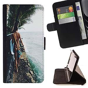 King Art - Premium-PU-Leder-Prima caja de la PU billetera de cuero con ranuras para tarjetas, efectivo Compartimiento desmontable y correa para la mu?eca FOR Sony Xperia Z3 Compact- Sex girl sunshine beach
