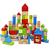 Lewo Wooden Building Blocks Games Construction Toys for Toddlers Stacking Block Set 100 Pcs